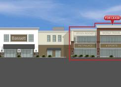 1170 Rockville Pike: Front view of building with achor, Bassett Furniture.